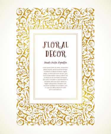 Vector vintage frame in Eastern style. Ornate floral element for design. Ornamental illustration, luxury decor for invitation, greeting cards, wallpaper. Place for text. Golden rectangle frame.