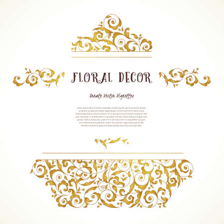 ornaments floral: Vector set of ornate frame, border, vignette for design template. Elements in Eastern style. Golden floral ornaments. Luxury decor for invitations, greeting cards, thank you message.