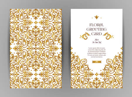Tarjetas adornadas del vintage. Decoración floral de oro en estilo victoriano. Marco de la plantilla para la reserva la fecha y la tarjeta de felicitación, invitación de la boda, certificado, prospecto, cartel. Frontera del vector con el lugar para el texto.