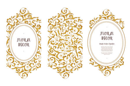 golden frames: Vector set of golden frames and illustrations for design template. Element in Eastern style. Luxury floral frames. Ornate decor for invitations, greeting cards, certificate, thank you message.