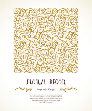 Vector vintage pattern in Eastern style. Ornate element, square illustration. Golden floral ornament. Luxury decor for invitations, greeting cards, thank you message.