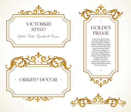 Vector set frames and vignette for design template. Elements in Victorian style. Golden floral borders. Ornate decor for invitations, greeting cards, certificate, thank you message. Ilustração