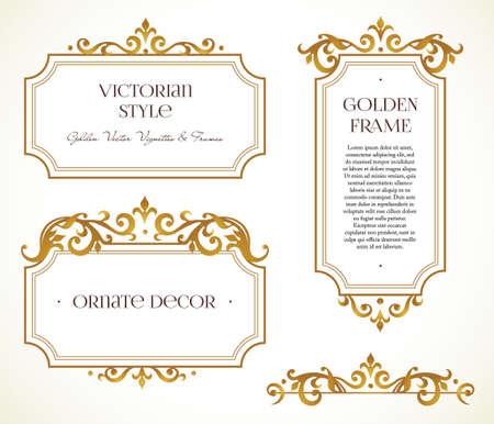 Vector set frames en vignet voor design template. Elementen in Victoriaanse stijl. Golden bloemengrenzen. Sierlijke decor voor uitnodigingen, wenskaarten, certificaat, dank u bericht.