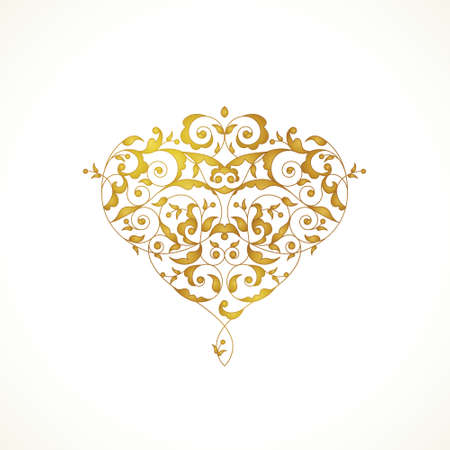 Ornate vector heart in Eastern style. Elegant element for logo design, place for text. Lace floral illustration for wedding invitations, greeting cards, Valentines cards. Golden pattern. Vectores
