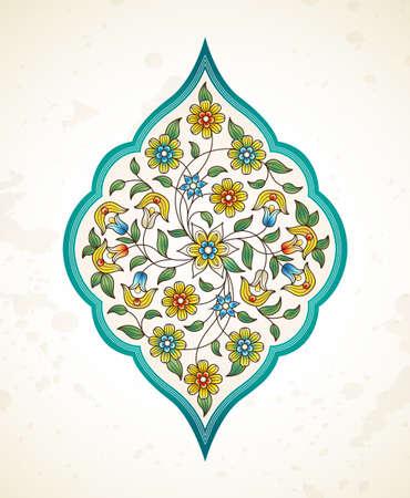 Elemento di vettore, arabesco per modello di progettazione. Ornamento di lusso in stile orientale. Illustrazione floreale turchese. Decorazioni decorate per inviti, biglietti di auguri, messaggio di ringraziamento, etichette, scudetti, cartellini. Archivio Fotografico - 73033046