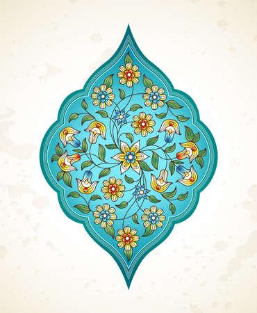 arabesco: elemento Vector, arabesque para plantilla de diseño. ornamento de lujo en estilo oriental. Turquesa floral ilustración. ornamentada decoración para las invitaciones, tarjetas de felicitación, gracias mensaje, etiquetas, insignias, etiquetas.