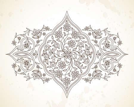 Vector line art decor; ornate vignette for design template. Eastern style element. Black outline floral decoration. Mono line illustration for invitation; card; coloring book; thank you message.