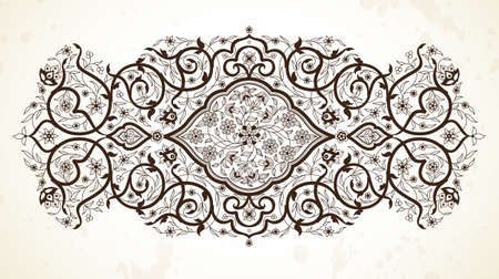 scrollwork: Vector line art decor; ornate vignette for design template. Eastern style element. Black outline floral decoration. Monochrome illustration for invitation; card; coloring book; thank you message.