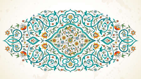 Vector element, arabesque for design template. Luxury ornament in Eastern style. Turquoise floral illustration. Ornate decor for invitation, greeting card, wallpaper, background, web page. Imagens - 74592688