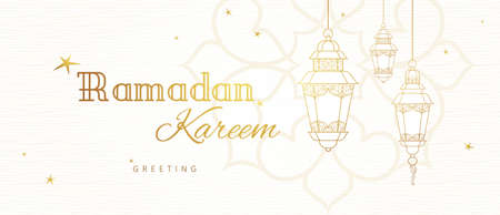 Ornate vector horizontal banner, vintage lanterns for Ramadan wishing. Arabic shining lamps. Outline decor in Eastern style. Islamic background. Ramadan Kareem greeting card, advertising, discount, poster. Vectores
