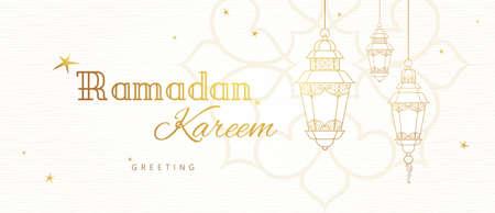 Ornate vector horizontal banner, vintage lanterns for Ramadan wishing. Arabic shining lamps. Outline decor in Eastern style. Islamic background. Ramadan Kareem greeting card, advertising, discount, poster. Vettoriali