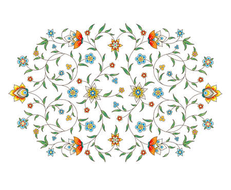 Vector element, arabesque for design template. Luxury ornament in Eastern style. Turquoise floral illustration. Ornate decor for invitation, greeting card, wallpaper, background, web page.