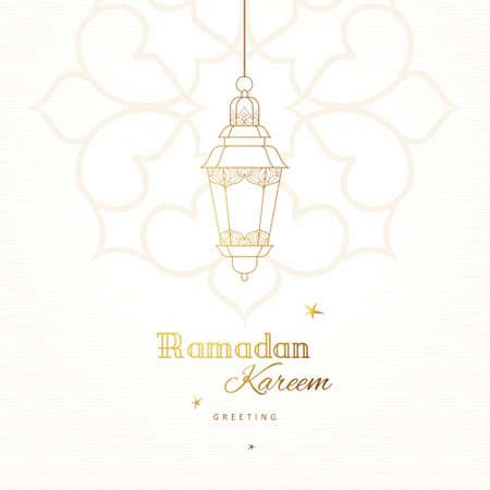 Sierlijke vector kaart, vintage lantaarns voor het wensen van Ramadan. Arabische glanzende lampen. Overzicht decor in Oosterse stijl. Islamitische achtergrond. Ramadan Kareem wenskaart, reclame, korting, poster, banner.