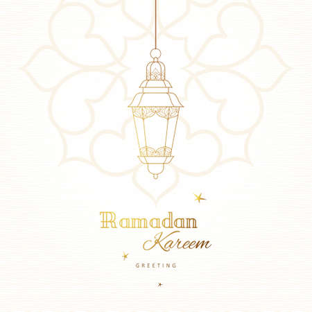 Ornate vector card, vintage lanterns for Ramadan wishing. Arabic shining lamps. Outline decor in Eastern style. Islamic background. Ramadan Kareem greeting card, advertising, discount, poster, banner.