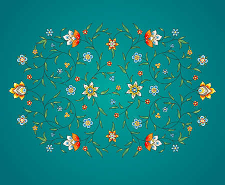 elemento Vector, arabesque para plantilla de diseño. ornamento de lujo en estilo oriental. Turquesa floral ilustración. decoración abigarrada de invitación, tarjetas de felicitación, papel pintado, fondo, la página web.