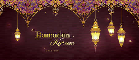 Ornate vector horizontal banner, golden vintage lanterns for Ramadan wishing. Arabic shining lamps. Decor in Eastern style. Islamic background. Ramadan Kareem greeting card, advertising, discount, poster.