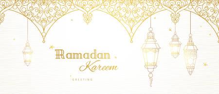 Ornate vector banner, vintage lanterns for Ramadan wishing. Arabic shining lamps. Outline golden decor in Eastern style. Islamic background.Ramadan Kareem greeting card, advertising, discount, poster.