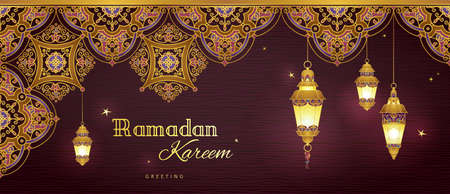 Ornate horizontal vector banner, three vintage lanterns for Ramadan wishing. Arabic shining lamps. Decor in Eastern style. Islamic background. Ramadan Kareem greeting card, advertising, discount, poster.