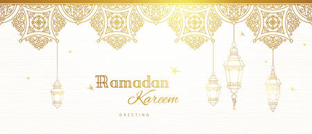 華やかなベクター バナー、ラマダンを希望のビンテージ ランタンです。ランプを輝くアラビア語。東部様式の黄金の装飾の概要を説明します。イスラムの背景。ラマダンカリーム グリーティング カード、広告、割引、ポスター。 写真素材 - 77304071