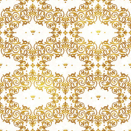 fill in: Vector seamless pattern with golden ornament. Vintage element for design in Victorian style. Ornamental lace tracery. Ornate floral decor for wallpaper. Endless texture. Bright pattern fill.