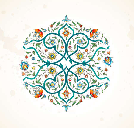 Vector element, arabesque for design template. Premium ornament in Eastern style. Bright floral illustration. Ornate decor for invitation, greeting card, wallpaper, background, web page. Mandala.