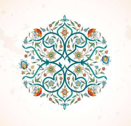 Vectorelement, arabesk voor ontwerpsjabloon. Premium ornament in oosterse stijl. Heldere bloemenillustratie. Sierlijke inrichting voor uitnodiging, wenskaart, behang, achtergrond, webpagina. Mandala.