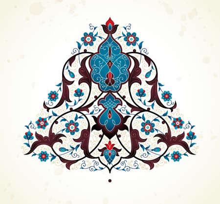 Vector vintage decor; ornate floral ornament for design template. Eastern style element. Ethnic decoration. Indian motifs. Ornamental paisley illustration for invitation, greeting card, background.