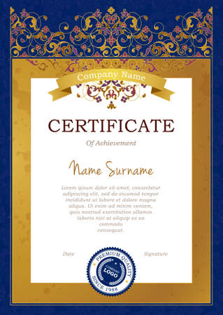 a4 borders: Vector frame in Eastern style. Certificate template with floral tracery.Elegant design element. Ornate golden border with ribbon. Ornamental decor for diploma, award, invitation, layout. A4 page size. Illustration