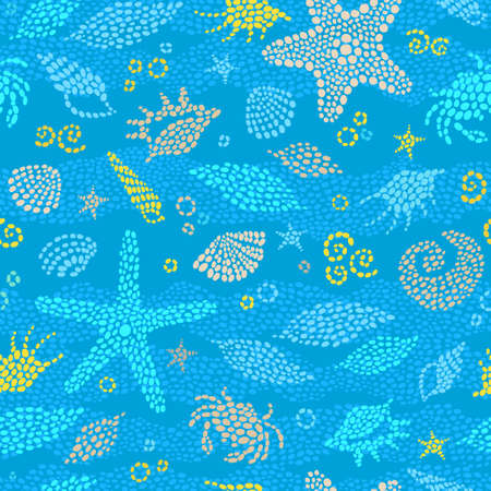 Vector seamless pattern with sea element, crabs, seashells. Ornate maritime decor from drops. Spotty blue sea background for wallpaper, pattern fills, web page, surface textures. Marine life. Illustration