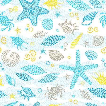 Patrón transparente de vector con elemento de mar, cangrejos, conchas marinas. Decoración marítima adornada de gotas. Fondo de mar irregular para fondo de pantalla, rellenos de patrón, página web, texturas superficiales. Vida marina.