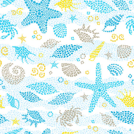 Vector seamless pattern with sea element, crabs, seashells. Ornate maritime decor from drops. Spotty sea background for wallpaper, pattern fills, web page, surface textures. Marine life.