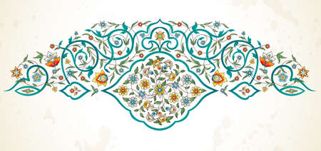Vector element, arabesque for design template. Premium ornament in Eastern style. Bright floral illustration. Ornate decor for invitation, greeting card, wallpaper, background, web page.