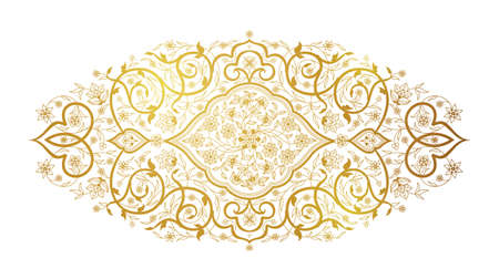 Vector line art decor; ornate vignette for design template. Eastern style element. Golden outline floral decoration. Place for text. Elegant illustration for invitation; card; web; packing, wallpaper.