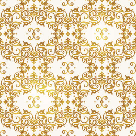 royals: Vector seamless pattern with golden ornament. Vintage element for design in Victorian style. Ornamental lace tracery. Ornate floral decor for wallpaper. Endless texture. Bright pattern fill.