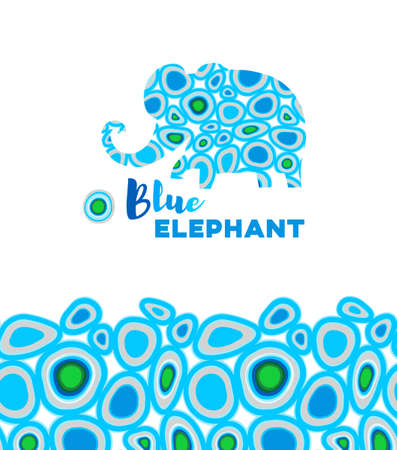 Cheerful vector elephant. Silhouette of elephant with a drops ornament. Use for decorating of invitations, cards, decoration for bags, clothes, posters, t-shirts.