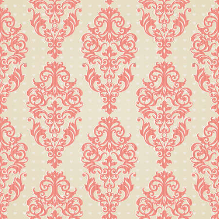 Vector seamless pattern with swirls and floral motifs in retro style. Victorian background of light pink color. It can be used for wallpaper, pattern fills, web page background, surface textures.