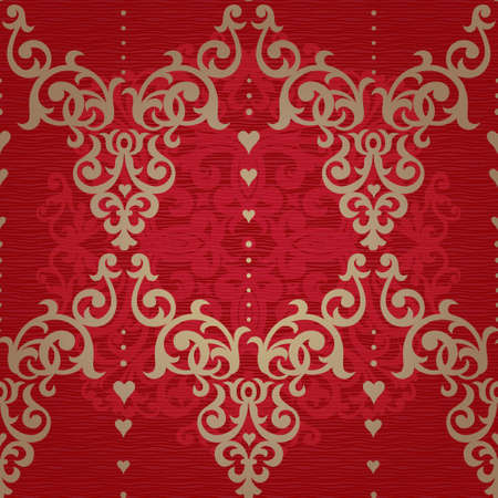 Vector seamless pattern in Victorian style. Element for design. Ornamental backdrop. Golden floral ornament on red background. Ornate decor for wallpaper. Endless texture. Deluxe pattern fill. Illustration