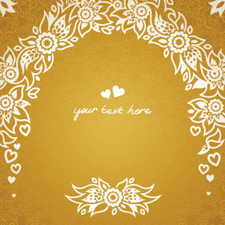delicate arabic motif: Vintage greeting cards with floral motifs in east style. Light gold background in persian style. Template design for wedding invitation. You can place your text in the empty frame. Save the date. Illustration