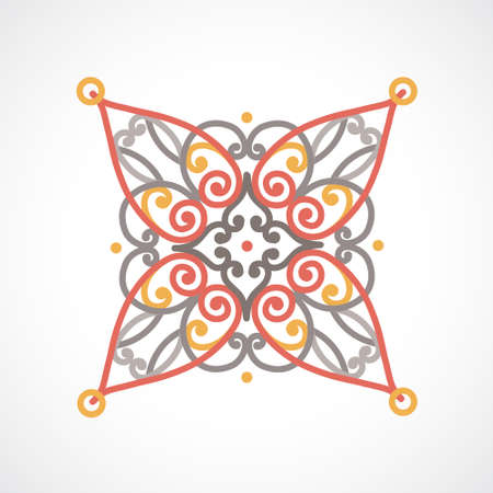 Vector baroque ornament in east style. Ornate element for design. Toolkit for designer. Lace ornamental pattern for wedding invitations and greeting cards. Traditional decor.