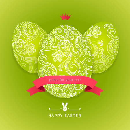 Easter eggs with floral elements, ribbons, bunny and place for your text. Template for easter card. Vector Illustration. Easter rabbit. Vector bright spring pattern.