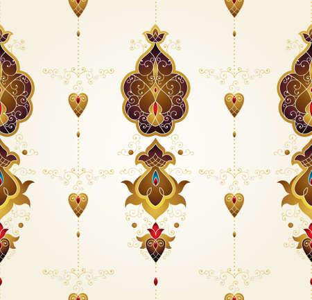 Arredamento vintage di vettore, modello senza cuciture decorato per modello di progettazione. Elemento di stile orientale. Decorazione etnica Motivi dorati arabi. Illustrazione ornamentale di Paisley per l'imballaggio, web, priorità bassa. Archivio Fotografico - 87739415