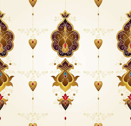 Vector vintage decor, ornate seamless pattern for design template. Eastern style element. Ethnic decoration. Arabic golden motifs. Ornamental paisley illustration for packing, web, background.