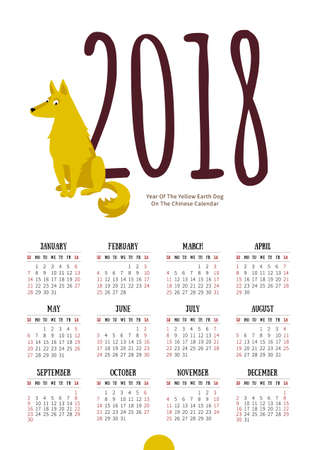 Vector calendar for 2018. Illustration of Yellow Earthy Dog, symbol of 2018 on the Chinese calendar. Drawing of amusing hound, isolated on white background. Week starts Sunday. A4 page size.