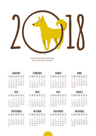 Vector Calendar For 2018 Illustration Of Yellow Earthy Dog