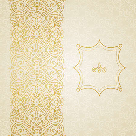 Vector ornate border in Victorian style. Golden floral element for design and place for text. Ornamental pattern for wedding invitations and greeting cards. Traditional golden decor.