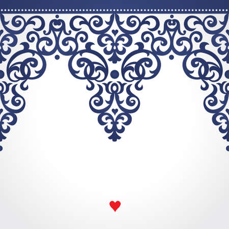 Vector seamless border in Victorian style. Ornate element for design. Place for text. Contrast ornamental pattern for wedding invitations and greeting cards. Traditional floral decor.