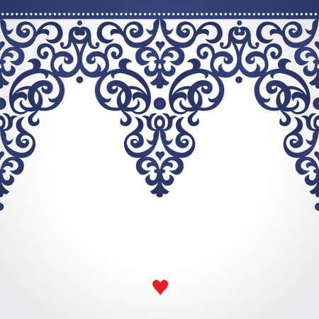 Frontière sans soudure de vecteur dans le style victorien. Élément orné pour le design. Place pour le texte. Modèle décoratif de contraste pour des invitations de mariage et des cartes de voeux. Décor floral traditionnel.