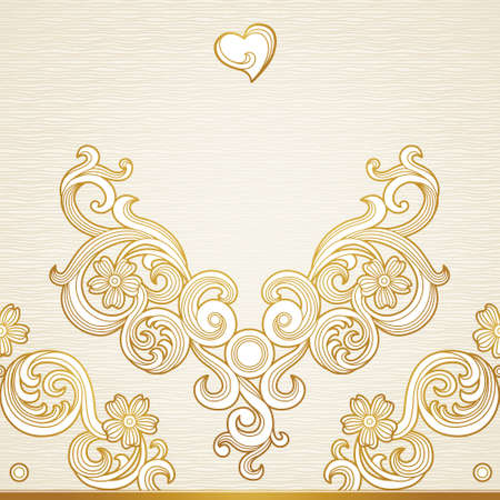 Vector seamless border in Victorian style. Element for design.Place for text. Ornamental pattern. It can be used for decorating of wedding invitations, greeting cards, decoration for bags and clothes. Illustration