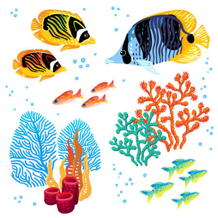 deepness: Colorful vector set of tropical fishes and corals. Marine life. It can be used for scrapbooking, decorating of invitations, cards and decoration for bags and clothes, web pages design. Illustration