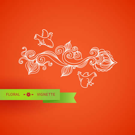 scrollwork: Outline floral vignette with bird, leaves and swirls on orange backdrop. Bright concepts background. It can be used for decorating of invitations, greeting cards, decoration for bags and clothes. Illustration